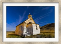The old pioneer church in Dorothy, Alberta, Canada, on a starry night Fine Art Print