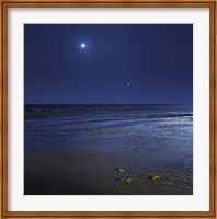 Venus shines brightly below the crescent Moon from coast of Buenos Aires, Argentina Fine Art Print