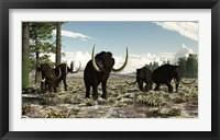 Woolly Mammoths in the prehistoric northern hemisphere Fine Art Print
