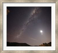 The Milky Way, the Moon and Venus over the fields in Azul, Argentina Fine Art Print