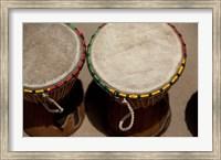 Gambia, Banju, Wooden drums, musical instrument Fine Art Print