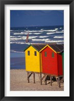 Yellow and Red Bathing Boxes, South Africa Fine Art Print