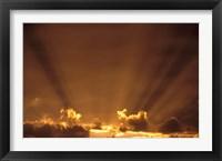 Africa, Botswana. Dramatic sunbeams in the sky Fine Art Print