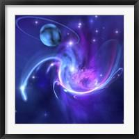 A beautiful nebula and a ringed planet Fine Art Print