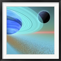 An asteroid field orbits near a planet and moon in the cosmos Fine Art Print