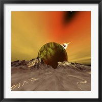 An asteroid hits a moon near to this planet out in the cosmos Fine Art Print