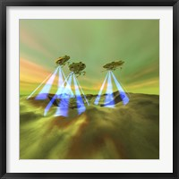Three alien spaceships steal the mineral resources on another planet Fine Art Print