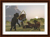 A pack of Saber Tooth Cats attack a small Woolly Mammoth Fine Art Print