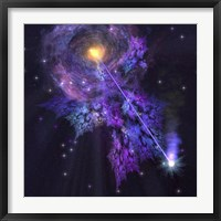 A shooting star radiates out from a black hole in the center of a galaxy Fine Art Print