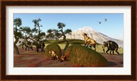 A family of Saber Toothed Tigers watch a herd of Woolly Mammoths Fine Art Print