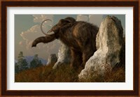 A mammoth standing among stones on a hillside Fine Art Print