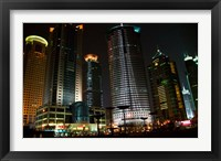 Night View of Highrises, Shanghai, China Fine Art Print