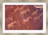 Pictograph, Engravings from Stone Age Culture, Twyfelfonstein Region, Namibia Fine Art Print