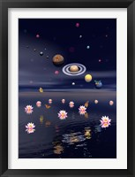 Planets of the solar system surrounded by lotus flowers and butterflies Fine Art Print