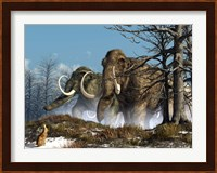 A rabbit witnesses a herd of mammoths in a snowy forest Fine Art Print