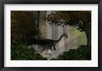 Gigantoraptor in a dense prehistoric forest Fine Art Print