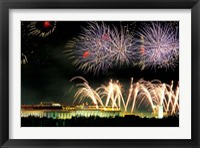 China, Beijing, Fireworks over Tienanmen Square Fine Art Print