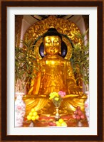 Golden Buddha in Sha Tin Cemetery, Hong Kong, China Fine Art Print