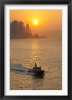 Sunset view from Victoria Harbor and Kowloon, Hong Kong, China Fine Art Print