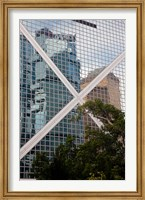 Reflections On Building, Hong Kong, China Fine Art Print