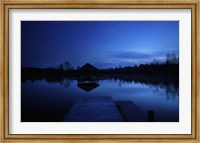 A small pier in a lake against starry sky, Moscow region, Russia Fine Art Print