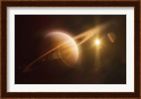 Saturn in outer space against Sun and star field Fine Art Print