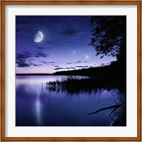 Tranquil lake against starry sky, moon and falling meteorites, Russia Fine Art Print