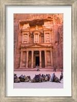 Camels at the Facade of Treasury (Al Khazneh), Petra, Jordan Fine Art Print