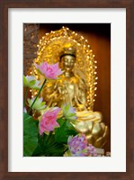 Pink lotus flowers in front of gold statue, Kek Lok Si Temple, Island of Penang, Malaysia Fine Art Print