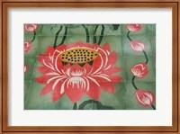 Detail of temple lotus flower tile floor, Island of Penang, Malaysia Fine Art Print