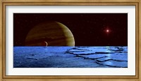 Jupiter and its Moon Lo as Seen from the Surface of Jupiter's Moon Europa Fine Art Print