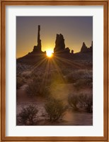 Sunburst through the Totem Polein Monument Valley, Utah Fine Art Print
