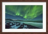 Aurora Borealis over the Ice Beach near Jokulsarlon, Iceland Fine Art Print