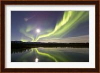 Aurora Borealis and Full Moon over the Yukon River, Canada Fine Art Print