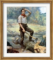 Digitally restored Vector Painting of a Young Abraham Lincoln Chopping Wood Fine Art Print