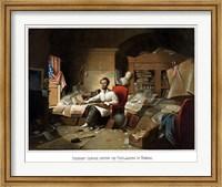 President Lincoln Writing the Emancipation Proclamation Fine Art Print
