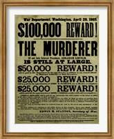 Reward Poster - Murderer of Abraham Lincoln Fine Art Print