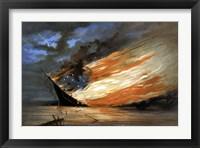 Vintage Civil War painting Warship Burning Fine Art Print