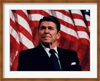 President Ronald Reagan with American Flag Fine Art Print