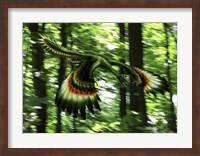 Archaeopteryx flying through a forest Fine Art Print
