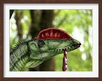 Dilophosaurus wetherilli with a piece of flesh hanging out of its mouth Fine Art Print