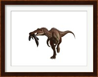 A Baryonyx dinosaur with a fish in mouth, white background Fine Art Print