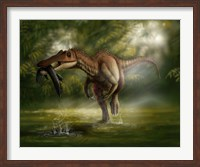 A Baryonyx dinosaur catches a fish out of water Fine Art Print