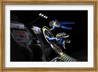 Explorers in space suits exit an Asteroid Lander Fine Art Print