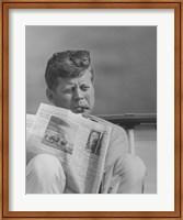 John F Kennedy Smoking a Cigar Fine Art Print