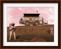 Illustration of Astronauts Examining an Outcrop of Sedimentary Rock on a Martian Dune Field Fine Art Print