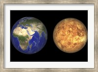 Artist's concept showing Earth and Venus without their Atmospheres Fine Art Print