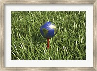 3D Rendering of an Earth Golf Ball on Tree in the Grass Fine Art Print
