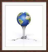 Golf Ball with the Texture of Planet Earth Placed on a Tee Fine Art Print