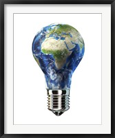 Light Bulb with Planet Earth inside Glass, Africa and Europe view Fine Art Print